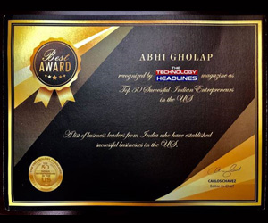 CEO and Co-Founder Abhi Gholap Awarded 'Top 50 Successful Indian Entrepreneurs' by The Technology Headlines Magazine
